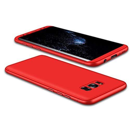 JMGoodstore Funda Galaxy S8,Carcasa Samsung S8,Funda 360 Grados Integral para Ambas Caras+Cristal Templado,[ 360°] 3 in 1 Slim Fit Dactilares Protectora Skin Caso Carcasa Cover Rojo