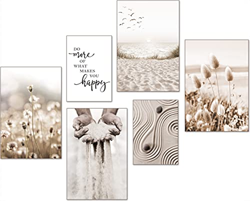 artpin® Moderne Poster Set - Bilder Wohnzimmer Deko Schlafzimmer - Pampas Gras Strand Bilderwand ohne Rahmen ( 4x A4 | 2x A5) W9