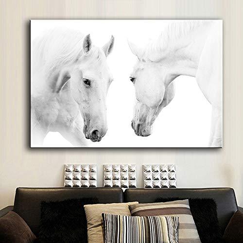 Carteles Impresiones del arte de la pared Impresiones del arte de la lona Cuadros de la pared Pintura de animales de dos caballos blancos para la pintura de la sala de estar (sin marco) 20x30 cm