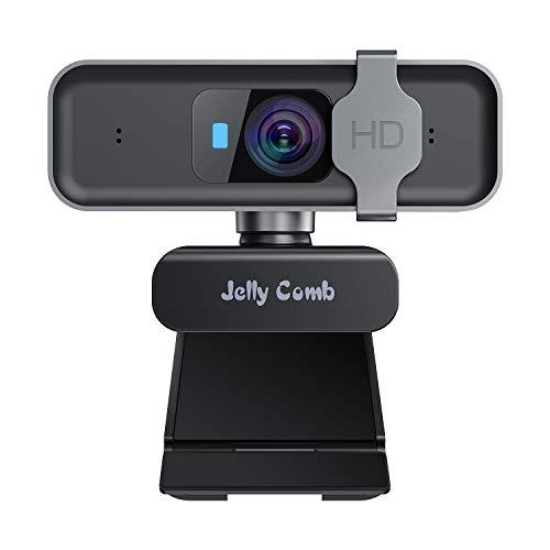 Jelly Comb 1080P HD USB Webcam für Skype, Video-Anrufe, Konferenzen, Aufnahme, Streaming Webcam mit Objektivdeckel,Autofokus,Mikrofon für Android/Mac OS/Windows/Linux, Schwarz und Grau