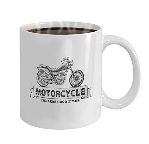 Lsjuee taza personalizada dibujado a mano pensil vector chopper motocicleta cita