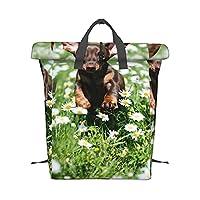 走ってるダックスフントの子犬 バックパック スポーツバッグ ロールトップ 大容量 軽量 防水 おしゃれ 通勤 アウトドア ユニセックス オールシーズン