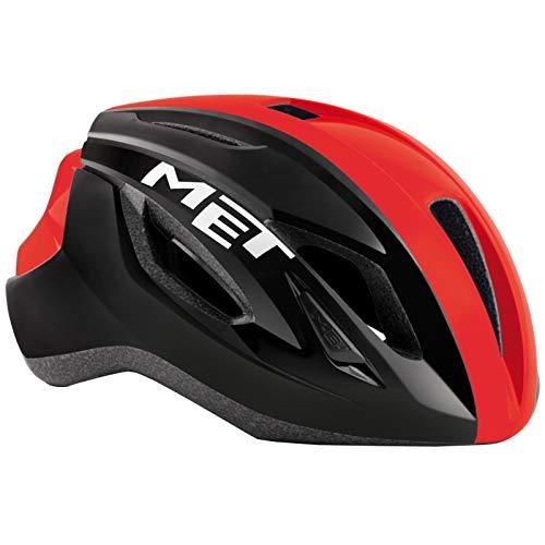 MET Casco Strale L(58-62), Adultos Unisex, Multicolor (Negro Rojo), 59-62