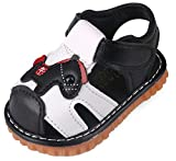 QIETION Toddler Boys Girls Squeaky Sandals Pony Soft Microfiber PU Closed Toe Summer Shoes X311 Black CN16