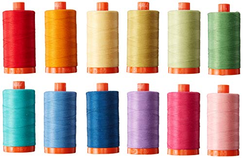 Aurifil Christa Quilts Piece and Quilt Colors Thread Kit 12 Large Spools 50 Weight