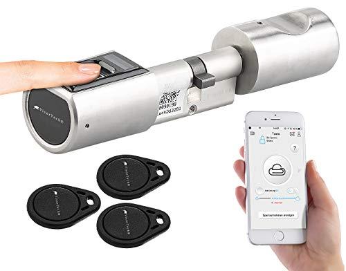 VisorTech Türschloss: Elektronischer Tür-Schließzylinder, Fingerabdruck-Scanner, Transponder (Türschliesszylinder)
