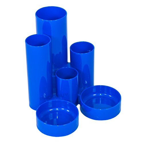 Set of 6 Tube Desk Tidy Organiser Pen Pencil Storage Pots School Office (Blue)