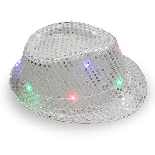 1 cappello in stile jazz con lustrini a LED, per adulti, per feste – colori assortiti 58cm Adjustable Argento