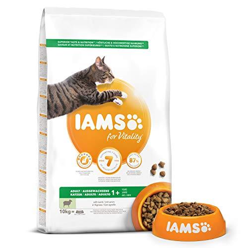 Iams Vitality - Croquettes Premium Chats Adultes 100% Complètes et équilibrées - A l'Agneau - Sans OGM Colorant Arôme Artificiel - Sac refermable 10kg