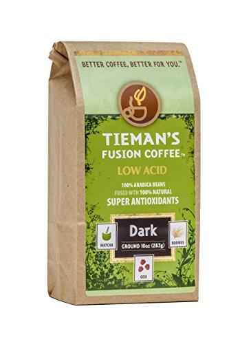 Tieman's Fusion Coffee, Low Acid Dark Roast, Ground, 10-Ounce bag