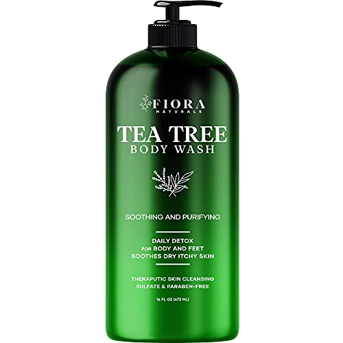 Fiora Naturals Tea Tree Body Wash - Tea Tree Oil Soap for Healthy Skin, Feet and Nails. Helps with body odor and soothes itching 16 FlOz