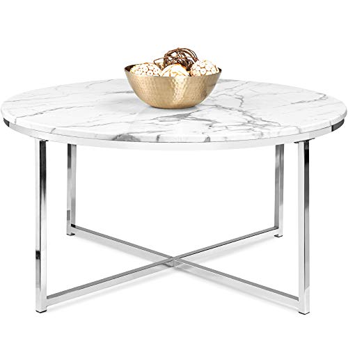 Best Choice Products 36in Faux Marble Modern Round Accent Side Coffee Table for Living Room, Dining Room, Tea, Home Décor w/Metal Frame, Non-Marring Foot Caps - White/Chrome