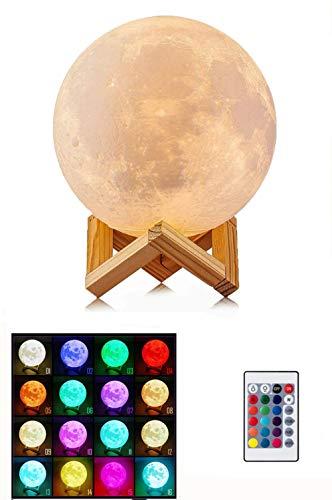 Fantes 3D Maan Lamp 16 LED Kleuren Dimbaar met Stand & Hook, Afstandsbediening & Touch Control, Oplaadbare Lunar Nachtlampje voor Baby Kids Liefhebber Verjaardag Party Geschenken