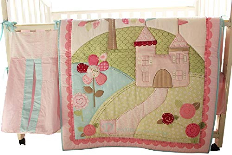 WM Baby Girls Little Fairy Princess Castle 10pcs Crib Bedding Set with Musical Mobile