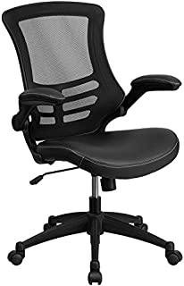 Flash Furniture Desk Chair with Wheels | Swivel Chair with Mid-Back Black Mesh and LeatherSoft Seat for Home Office and Desk, BIFMA Certified