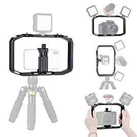 """Upgrade M-Rig Metal Smartphone Video Rig w 3 Cold Shoe Mount Compatible with GoPro Series Hero 9 8 7 6 5, for DJI OSMO… 1 ✔ - It helps improve your stable vlogging, video recording. ✔ - Fit for most cell phones within width from 1.7 - 3.7 inch. And it fits for DJI OSMO Action, for GoPro and other action cams. Also it fits for DSLR / cameras! ✔ - Universal 1/4""""-20 mount thread, with 3 cold shoe mount you can add microphone, video lights, flashes. You can get the whole case vertical or horizontal."""