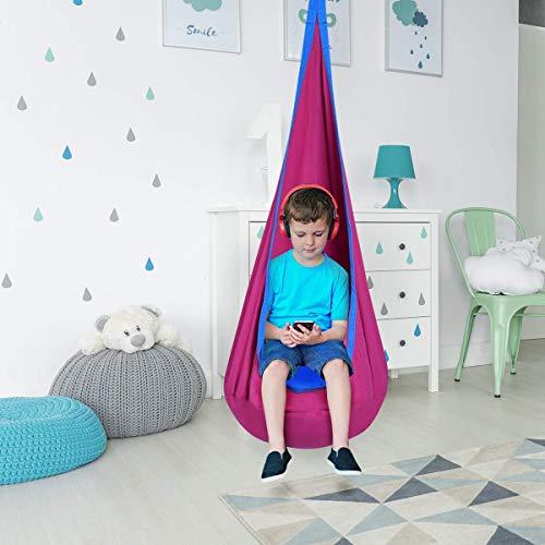 Costzon Child Pod Swing Chair Tent Nook Indoor Outdoor Hanging Seat Hammock Kids (Rose)