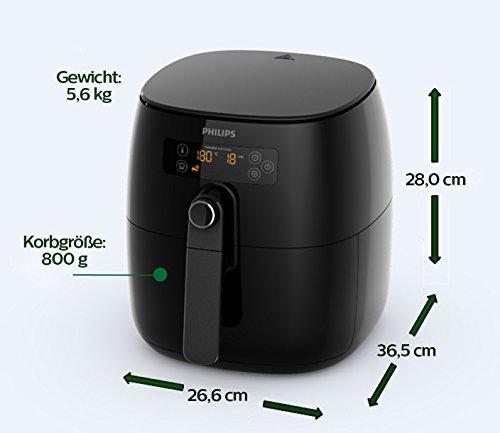 Philips HD9641/90 Airfryer Turbostar (1425 W, Heißluftfritteuse, ohne Öl, für 2-3 Personen, digitales Display) schwarz - 2