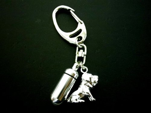 遺骨カプセルキーホルダースナップフックタイプ(カプセル 小)土佐犬 ゴールド