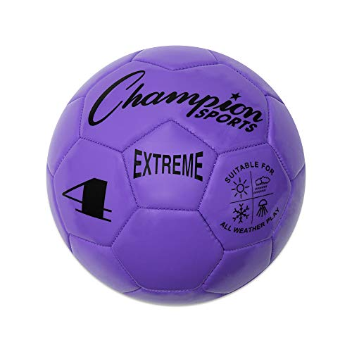 Champion Sports Extreme Series Soccer Ball, Size 4 - Youth League, All Weather, Soft Touch, Maximum Air Retention - Kick Balls for Kids 8-12 - Competitive and Recreational Futbol Games, Purple
