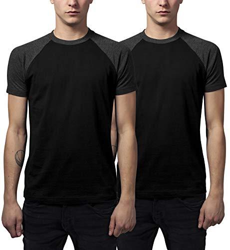 Urban Classics Herren Raglan Contrast Tee T-Shirt, Mehrfarbig (Blk/Cha (2-Pack) 00445), (Herstellergröße: Medium) (2er Pack)
