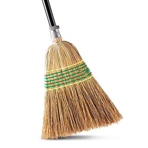 """Yocada Heavy-Duty Broom Corn Broom Outdoor Commercial Indoor Perfect for Courtyard Garage Lobby Mall Market Floor Home Office Leaves Stone Dust Rubbish 59.8"""""""