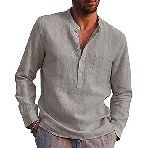 Qxinjinxtx Camisetas de los Hombres Nueva Blusa Casual de los Hombres Camisa de Lino de algodón Tops Sueltos Camiseta de Manga Corta Camiseta Primavera Otoño Verano Camisa Guapo Casual