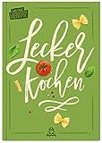 Rezeptbuch zum Selberschreiben für 86 eigene Rezepte, DIN A5, 96 Seiten, Softcover, mit Inhaltsverzeichnis und Register, hochwertige Fadenbindung, flach aufschlagbar, blanko DIY Kochbuch (grün)