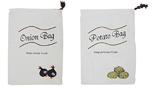 Set of 2 Vegetable Bags, Includes Potato Bag and Onion Bag - by Home-X