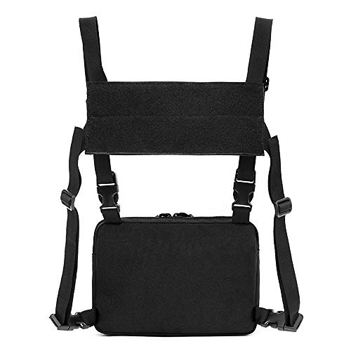 Lixada Chest Bag Vest Bag Recon Kit Bags Combat Chest Pack Front Pouch Radio Harness Holster Airsoft Ammo Tool Outdoors Carry Pouch for Hiking Fishing Camping Wargame Paintball Airsoft Shoot