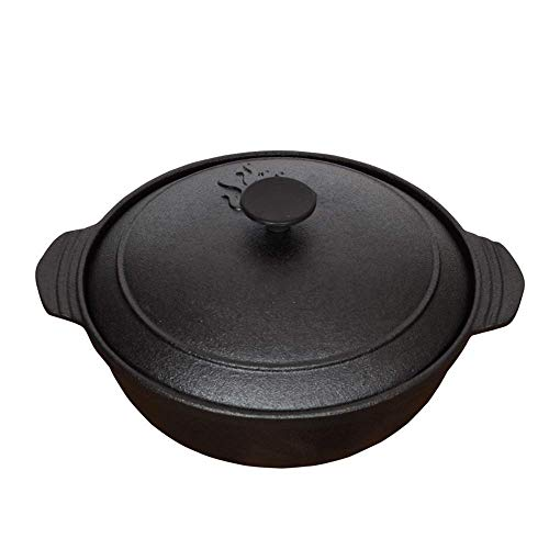 YGB Gourmet - Olla de Cocina de Hierro Fundido de 5 Cuartos de galón, Resistente, sin Revestimiento Antiadherente, Mango de Agarre en E para freír, Hornear, cocinar, Barbacoa, Parrilla
