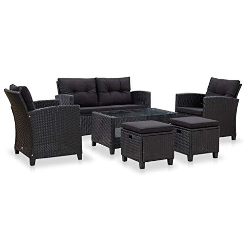 UnfadeMemory Outdoor Garden Sofa Set 6 Pieces with Cushions, Outdoor Terrace Furniture, 2 Seater Sofa + 2 Armchairs + 2 Ottomans + Table, Synthetic Rattan (Black)