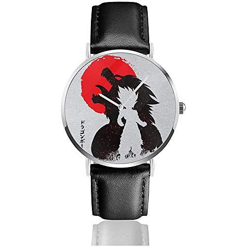 Dragon Ball Z Ozaru Gohan Relojes Reloj de Cuero de Cuarzo con Correa de Cuero Negro para Regalo de colección