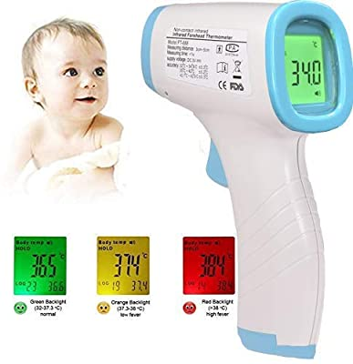Digital Infrared Forehead Thermometer Non-Contact Digital Thermometer with Fever Alert Function, 3 in 1 Digital Medical Infrared Thermometer for Baby, Adults and Surface of Objects