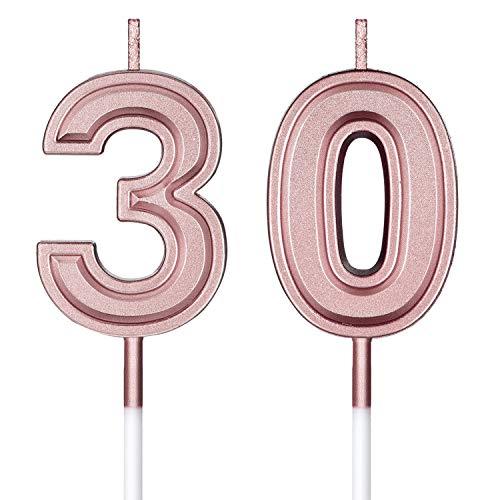 Velas de Cumpleaños 30 Velas de Numeros de Pastel Topper Decoración de...