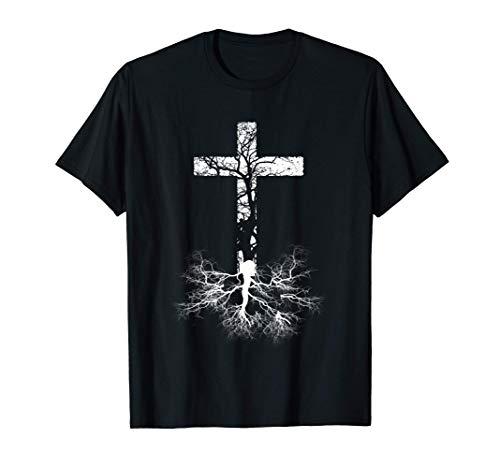 Croix Arbre Religieux Jésus Foi Chrétienne Bible Pasteur T-Shirt