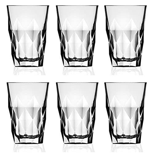 Set de 6 Vasos de Agua y Bebidas Alcohólicas, Vasos de Cristal Transparentes de 36cl, Aptos para Lavavajillas y Microondas