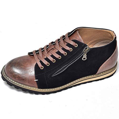 [シュベック] オックスフォードシューズ レースアップシューズ ブーツ ハイカット ミドルカット サイドジップ フェイクスエード コンビ素材 ビンテージ加工 [SPB068-13 ] 41(25.5cm) ブラック 黒