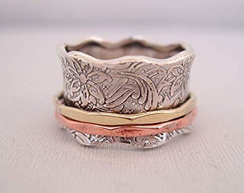 """Bague de Méditation Energy Stone """"Balance et Beauté"""" - Motif floral à 2 anneaux en bronze et laiton - 2"""