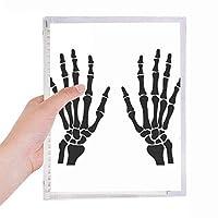 ヒトの手の骨格の骨ブラックパターン 硬質プラスチックルーズリーフノートノート