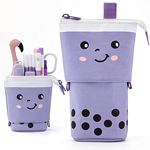 ANGOOBABY Standing Pencil Case Cute Telescopic Pen Holder Kawaii Stationery Pouch Makeup Cosmetics Bag for School Students Office Women Teens Girls Boys (Purple)