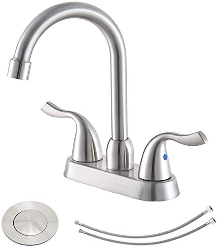 Hotis Commercial 2-Handle Brushed Nickel Bathroom Sink Faucet, Swivel Spout Lavatory Bathroom Vanity Faucets with Pop Up Drain and Water Supply Lines