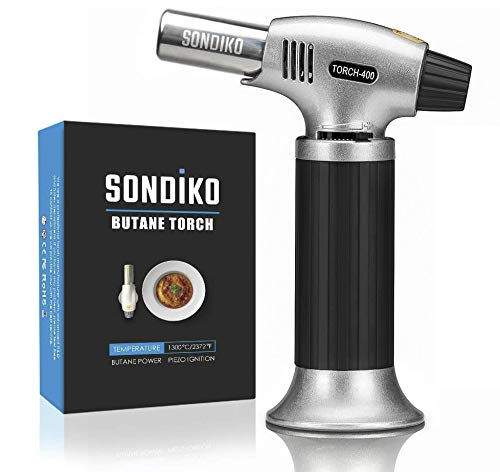 Sondiko Butane Torch, Culinary Torch Refillable Kitchen Butane Torch Lighter with Safety Lock and Adjustable Flame for Desserts, Creme Brulee, BBQ and Baking(Butane Gas Not Included)