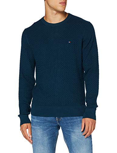 Tommy Hilfiger Weave Structured Sweater Suéter, Lakeside, M para Hombre