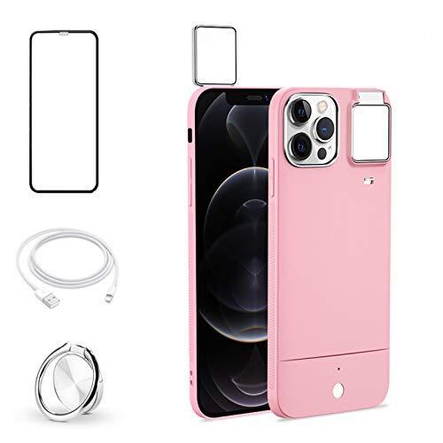 "HPHRE Selfie Ring Light Case Compatible with iPhone 12 Pro Max 6.7"" - Illuminated Selfie Luminous Flashlight Cellphone Cover Built in Camera Flash LED Light UP [3 Lighting Modes], Pink"