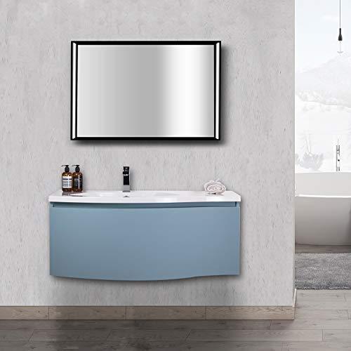 Badkamermeubels LENA 1000 mat wit - spiegel optioneel, spiegel:Met spiegelkast, Pop-up stop:zonder afvalset
