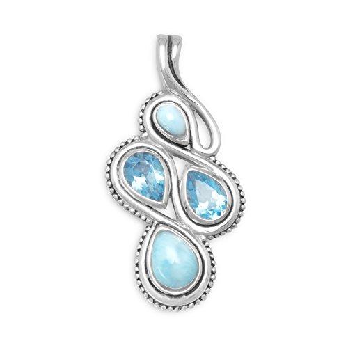 Figur 8 Stil oxidiertes 925 Sterlingsilber Slide Birnenform Larimar Blautopas Steine Schmuck Geschenke für Frauen