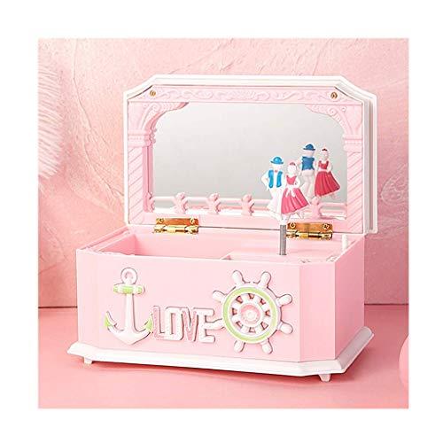 BALLYE Joyero Musical Caja de Almacenamiento de joyería Musical con Bailarina giratoria, Caja de música Creativa con Espejo, Joyero Infantil para niñas, Caja Musical Rosa/Azul Joyero