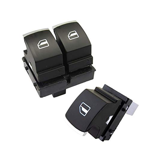 Botonera elevalunas 2-Puertas cromo plateado interruptor de alimentación Ventana de Control Kit for VW Golf 5 6 en forma for el Jetta MK5 en forma for el Passat B6 EOS Caddie 5K3 959 857 959 855 5ND