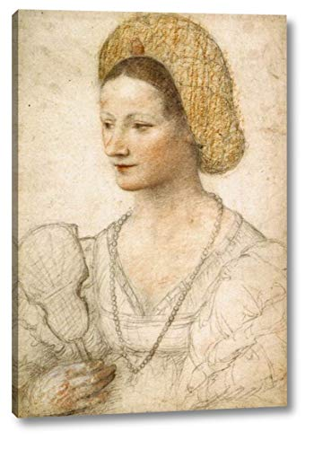 "Portrait of a Young Woman with Fan by Bernardino Luini - 16"" x 24"" Gallery Wrap Canvas Art Print - Ready to Hang"